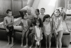 Ray Heller with kids