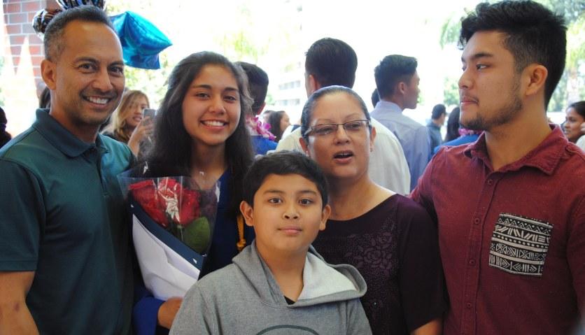 Angela, with John, Kiki, Jojo, David, 8th grade graduation, St. Pius