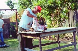 Tio Gabriel butchering buck