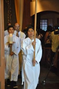 Angela and Nino Domingo helping at church