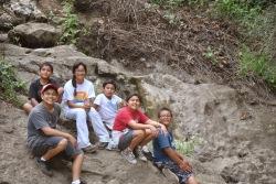 Domingo and Ramirez family with Miranda on cave hike, Hollywood Hills