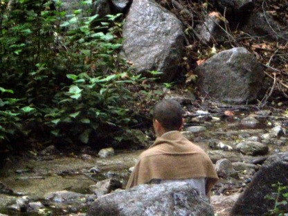 Buddhist Monk, meditating, Monrovia Canyon Falls