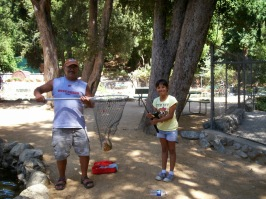Miranda trout fishing with Papa