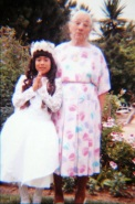 Nene's 1st communion with Grandma
