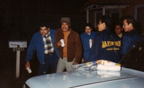 Freddy Nuñez on left, Efraim, Freddy Padilla, Chaug with Spades jacket, Bobby Salcido, Huero next to Chaug