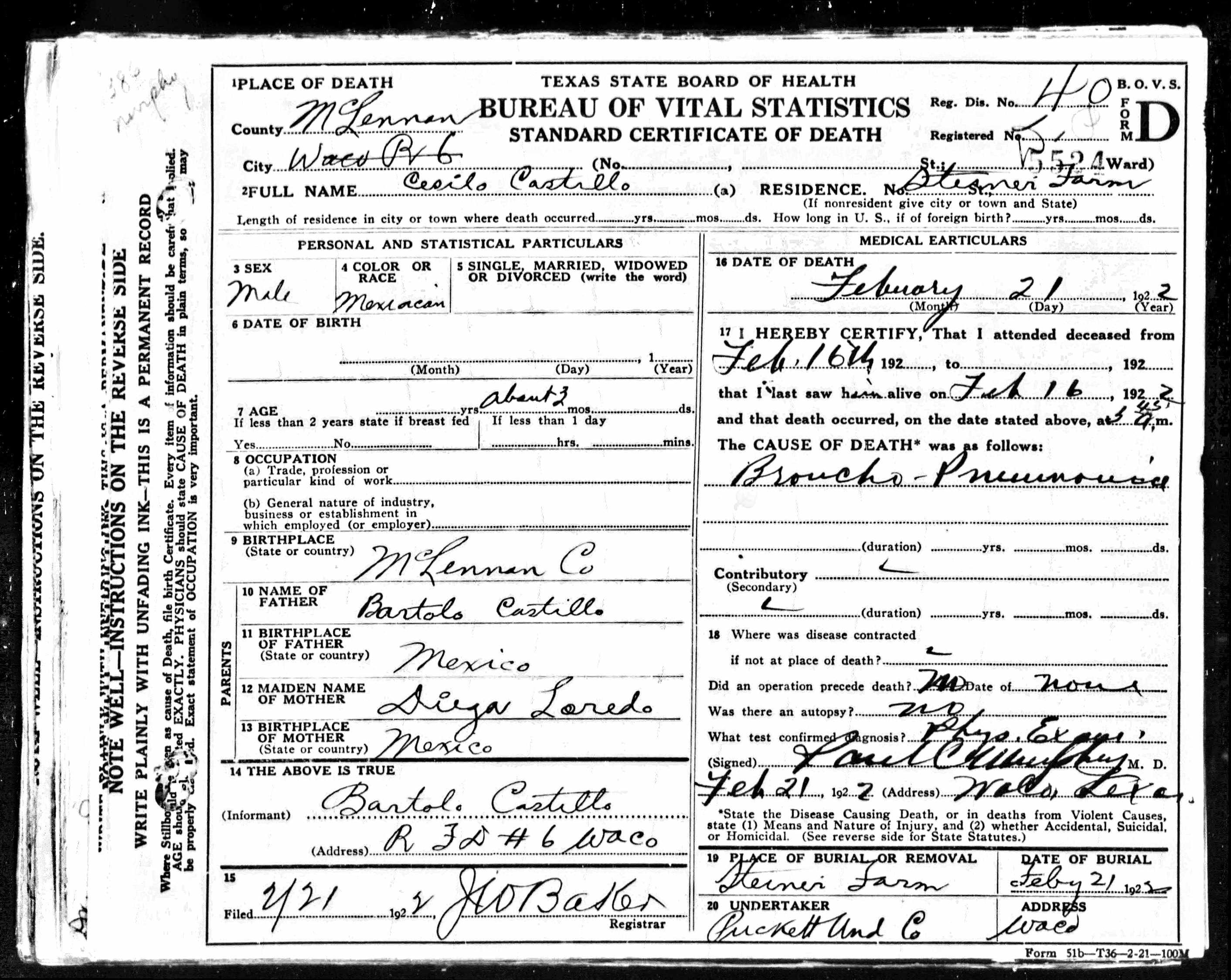 Cesilio Castillo Death Certificate