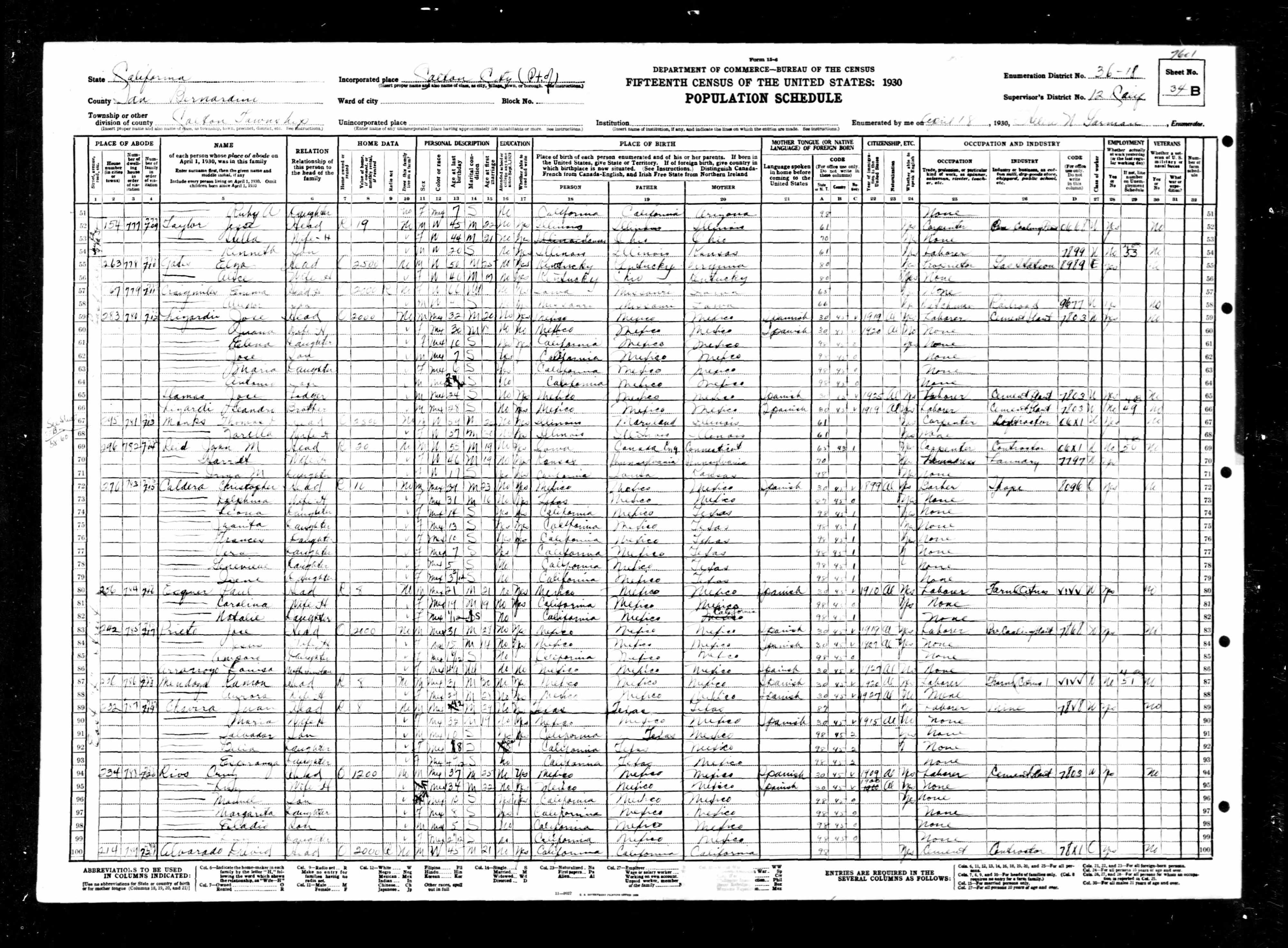 Cruz Rios Census 1930